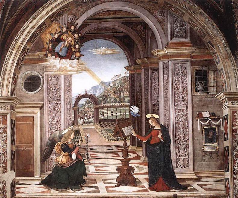 фреска Пинтуриккьо - Благовещение Pinturicchio,_cappella_baglioni_02