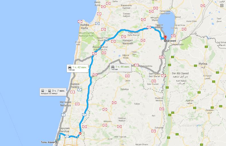 Как добраться? Схема проезда до кибуца Degania Alef из Тель-Авив
