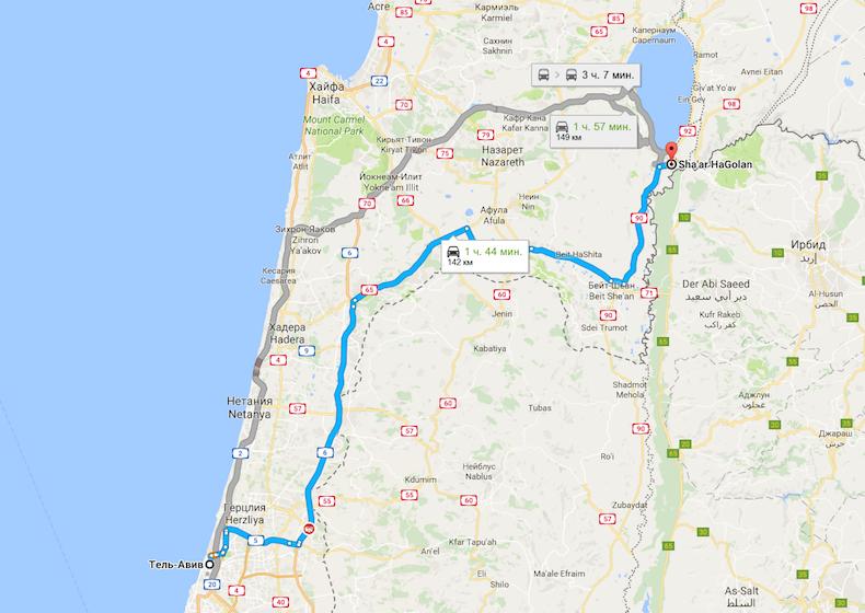 Как добраться? Схема проезда до кибуца Sha'ar HaGolan из Тель-Авива?