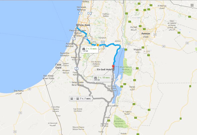 Схема проезда до кибуца Ein Gedi из Тель-Авива