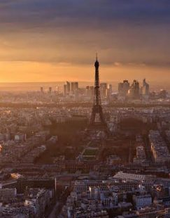 Paris skyline with Eiffel Tower at sunset