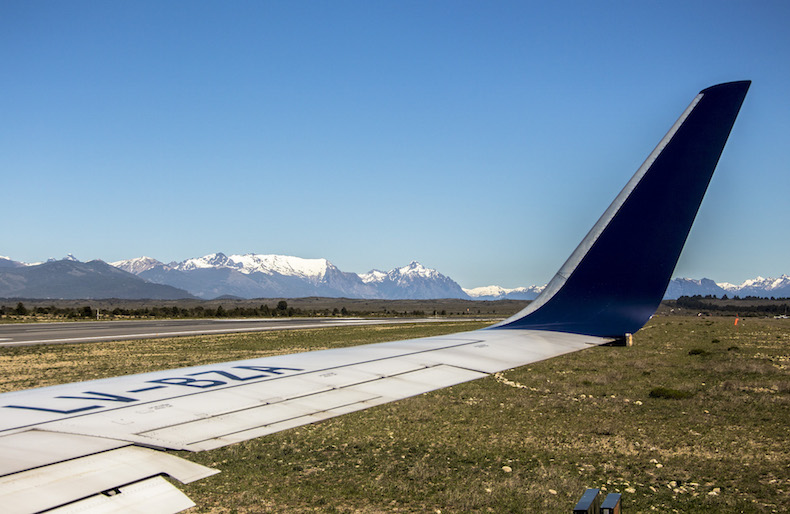 Вид из самолета в аэропорту Барилоче